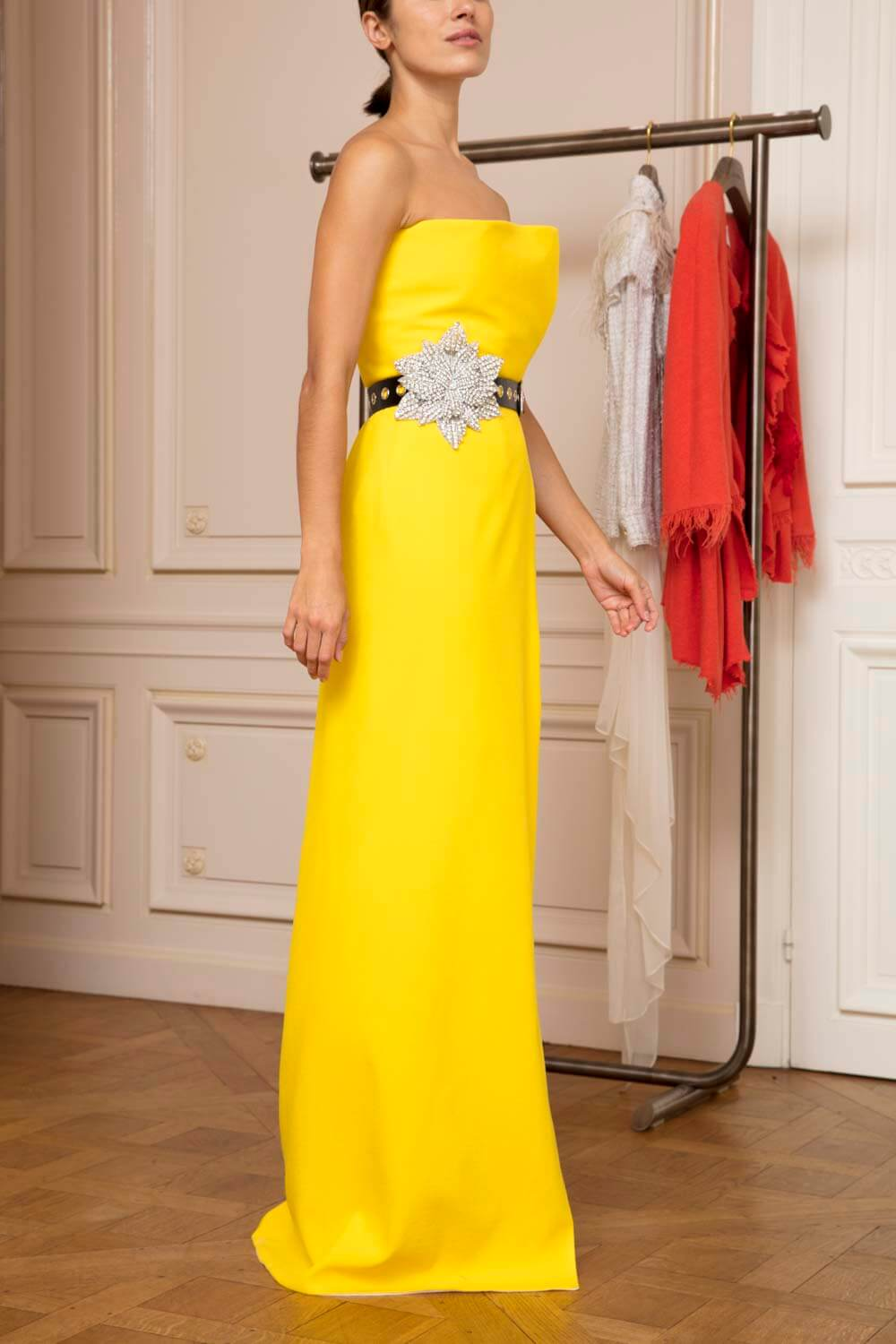 Sunflower yellow wraparound column evening gown