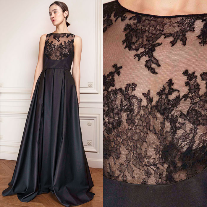 Black Mikado evening gown with transparent lace bodice