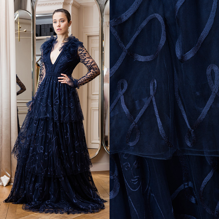 Navy blue full-length dress