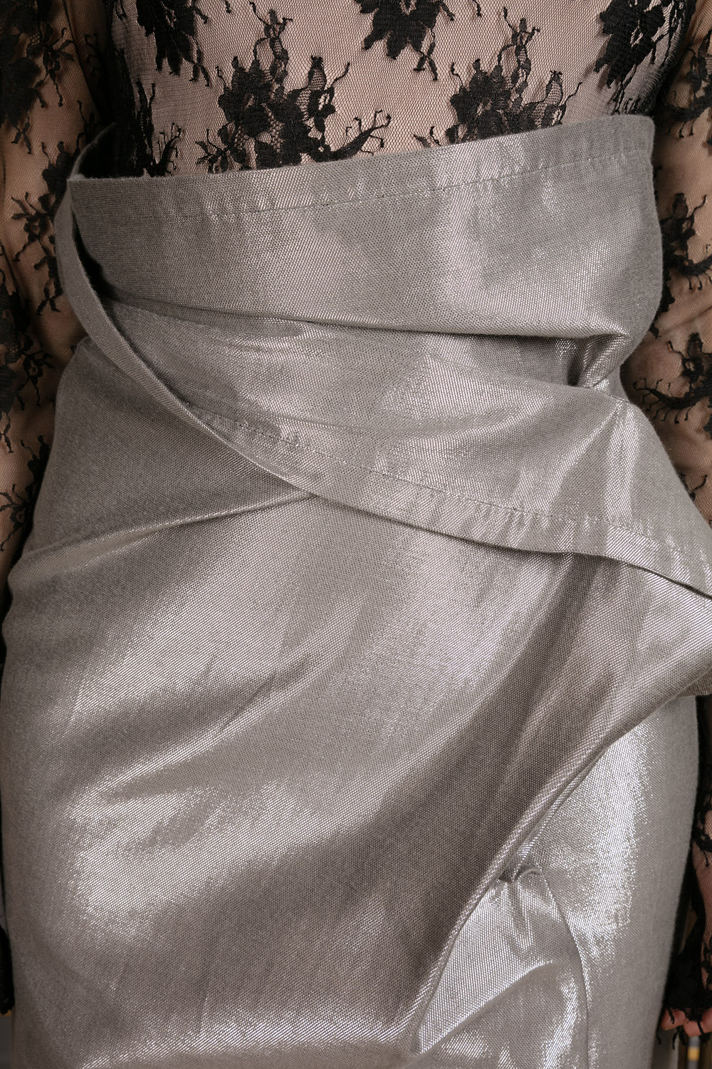 Metallic grey straight skirt