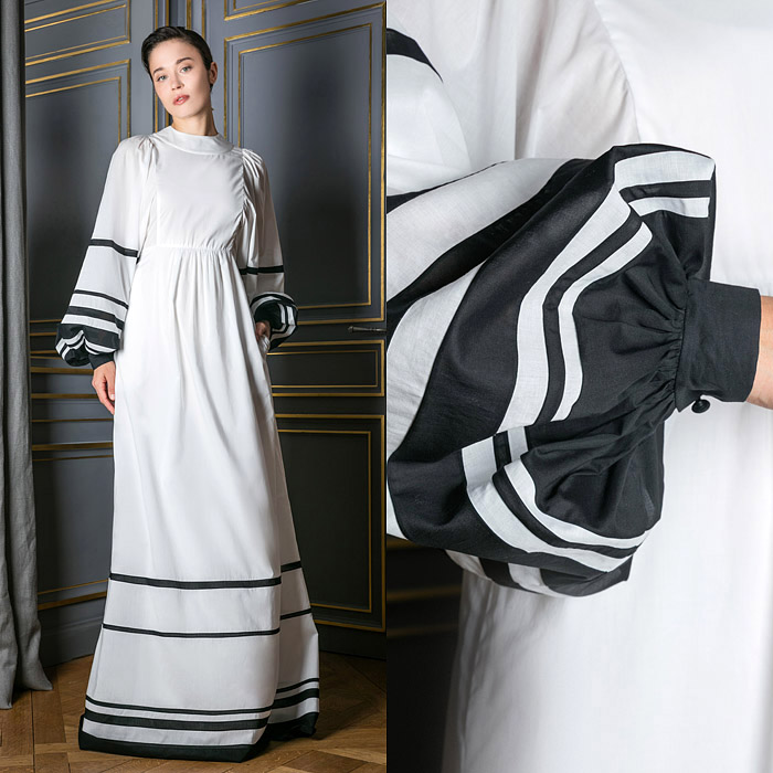 White floor-length peasant style dress