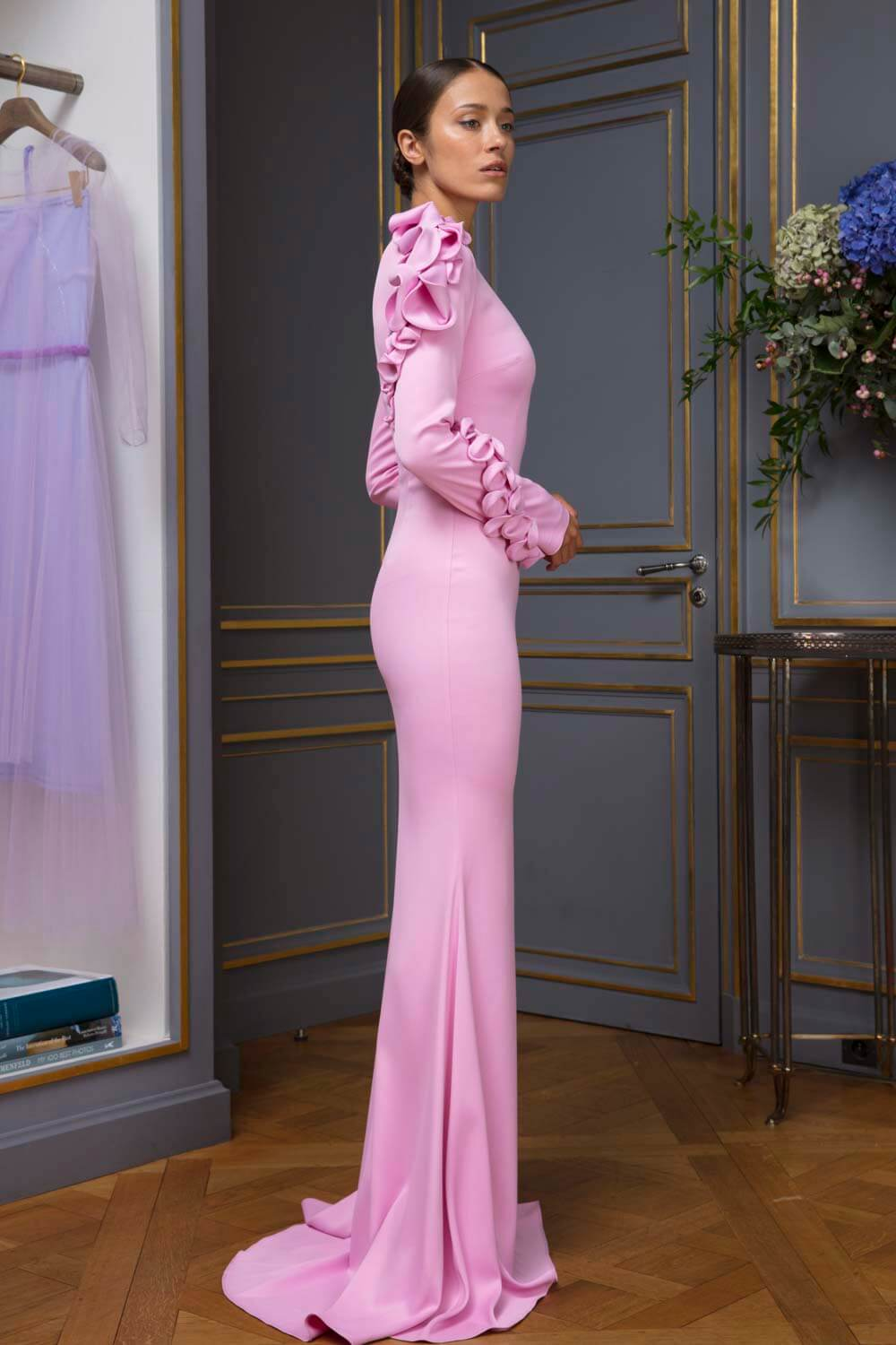 Figure-hugging column gown with demi-couture detailing