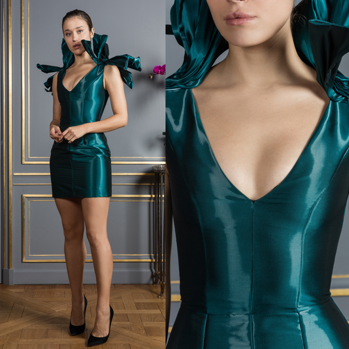 Metallic teal mini dress