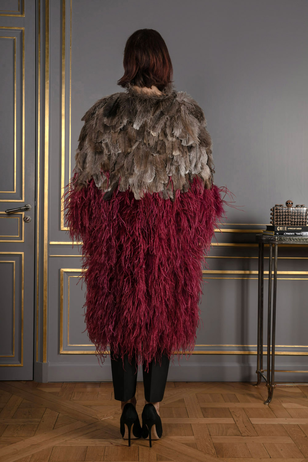 Burgundy feather jacket