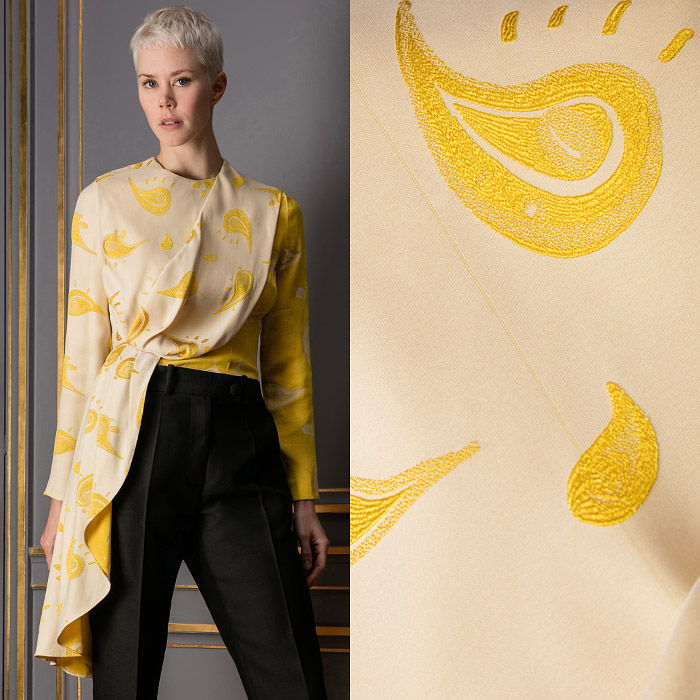 Yellow silk top